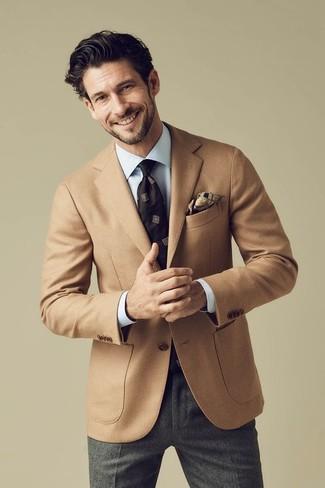 How to wear: tan wool blazer, light blue dress shirt, charcoal wool dress pants, dark brown print tie