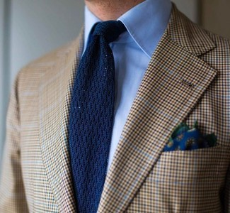 How to wear: tan plaid blazer, light blue dress shirt, navy knit tie, navy floral pocket square