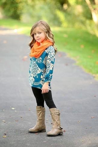 How to wear: orange scarf, tan boots, black leggings, teal long sleeve t-shirt