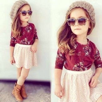 How to wear: beige beanie, tan boots, white lace skirt, red long sleeve t-shirt