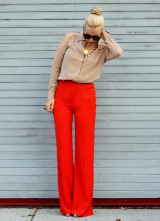 womens red dress pants - Pi Pants
