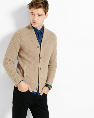 How To Wear Black Jeans With a Tan Cardigan | Men's Fashion