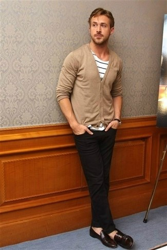 Ryan Gosling wearing Tan Cardigan, White and Black Horizontal Striped Crew-neck T-shirt, Black Jeans, Dark Brown Leather Loafers