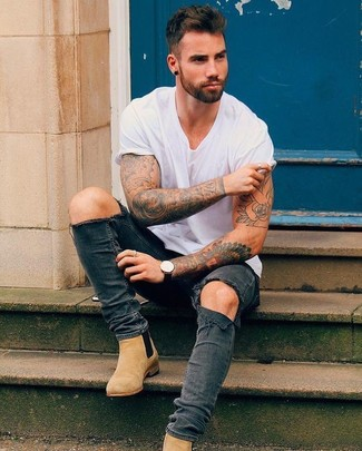 How to wear: black leather watch, tan suede chelsea boots, charcoal ripped skinny jeans, white crew-neck t-shirt