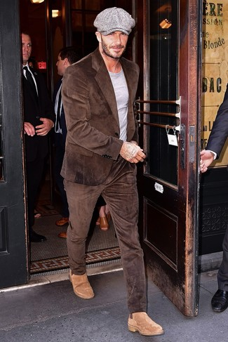How to wear: grey flat cap, tan suede chelsea boots, grey crew-neck t-shirt, brown corduroy suit