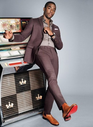 How to wear: white pocket square, tan leather chelsea boots, grey dress shirt, purple suit