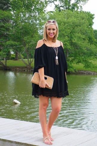 How to wear: white pendant, tan leather clutch, beige leather thong sandals, black off shoulder dress