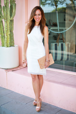 How to wear: gold bracelet, tan leather clutch, gold leather heeled sandals, white chiffon sheath dress