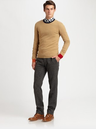 How to wear: tan crew-neck sweater, white and black gingham long sleeve shirt, charcoal wool dress pants, brown leather brogues