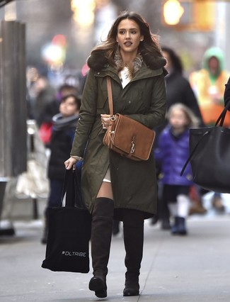 How to wear: dark brown suede over the knee boots, tan leather cropped top, white sweater dress, olive parka