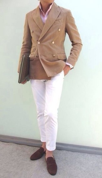 How to wear: tan double breasted blazer, pink dress shirt, white chinos, dark brown suede loafers