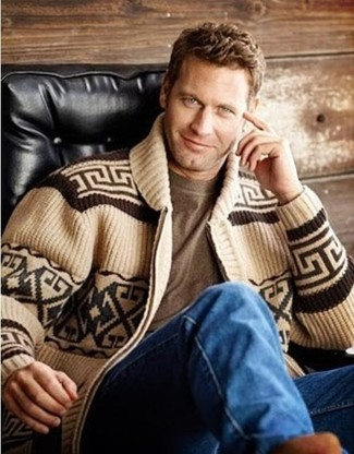 Men's Tan Fair Isle Shawl Cardigan, Brown Crew-neck T-shirt, Blue ...