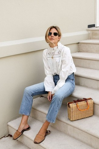How to wear: tan straw tote bag, tan suede flat sandals, light blue jeans, white crochet long sleeve blouse