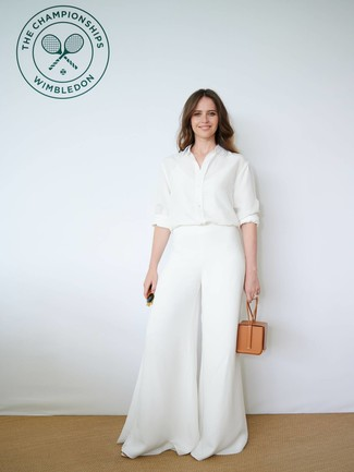 How to wear: dark green sunglasses, tan leather handbag, white wide leg pants, white silk dress shirt