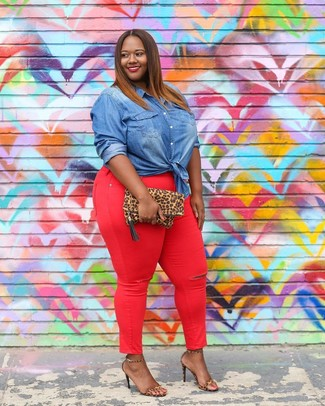 How to wear: tan leopard suede clutch, tan leopard leather heeled sandals, red skinny jeans, blue denim shirt