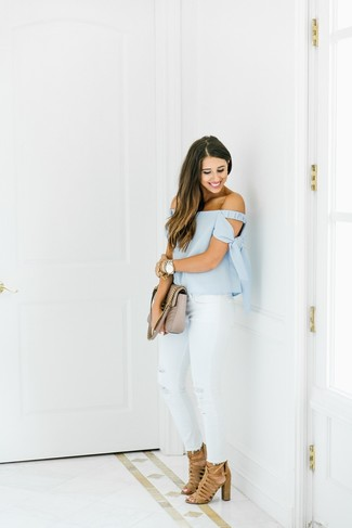 How to wear: beige quilted leather satchel bag, tan suede heeled sandals, white ripped skinny jeans, light blue off shoulder top