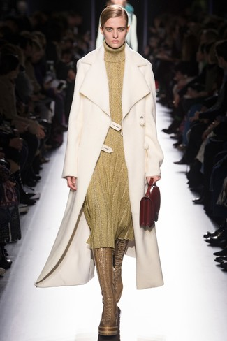 How to Wear Tan Leather Knee High Boots: If the situation calls for an elegant yet killer outfit, you can wear a white shearling coat and a gold sweater dress. Tan leather knee high boots are a great choice to finish off your look.