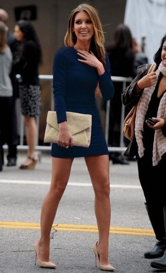 How to wear: tan snake leather clutch, tan leather pumps, navy bodycon dress