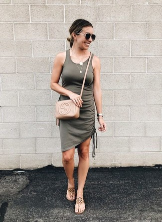 How to wear: tan leather crossbody bag, tan leather thong sandals, olive tank dress