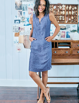 How to wear: tan leather gladiator sandals, blue chambray shift dress