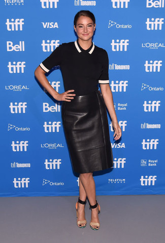 How to wear: tan leather heeled sandals, black leather pencil skirt, black polo