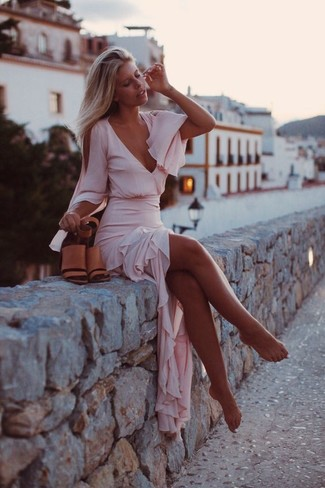 How to wear: tan leather heeled sandals, pink chiffon maxi dress