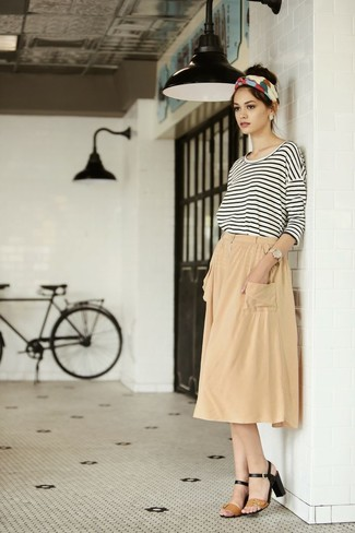 How to wear: tan leather heeled sandals, tan pleated midi skirt, white and black horizontal striped long sleeve t-shirt