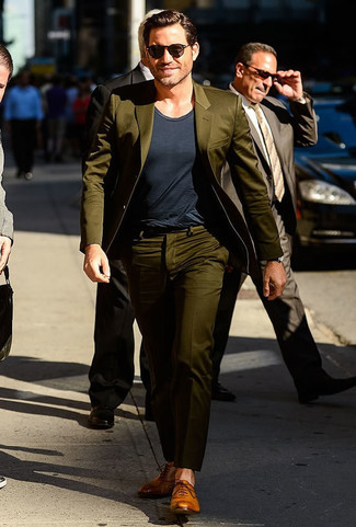 How to wear: tan leather oxford shoes, charcoal crew-neck t-shirt, olive suit