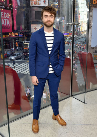 How to wear: tan leather oxford shoes, white and navy horizontal striped crew-neck t-shirt, blue suit
