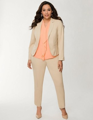 How to wear: tan leather pumps, orange silk sleeveless top, tan suit
