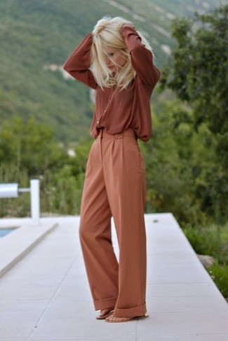 How to wear: tan leather thong sandals, tobacco wide leg pants, tobacco button down blouse