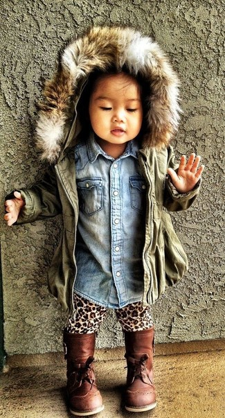 How to wear: brown boots, tan leopard leggings, light blue denim long sleeve shirt, olive jacket