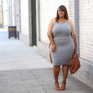 How to wear: tan open cardigan, grey bodycon dress, tan leather pumps, tobacco leather tote bag