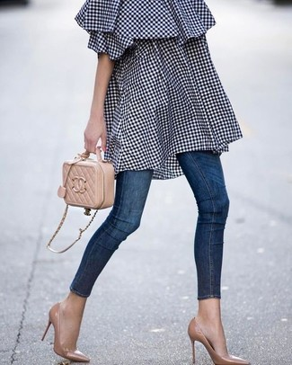 How to wear: tan quilted leather crossbody bag, tan leather pumps, navy skinny jeans, navy gingham off shoulder dress