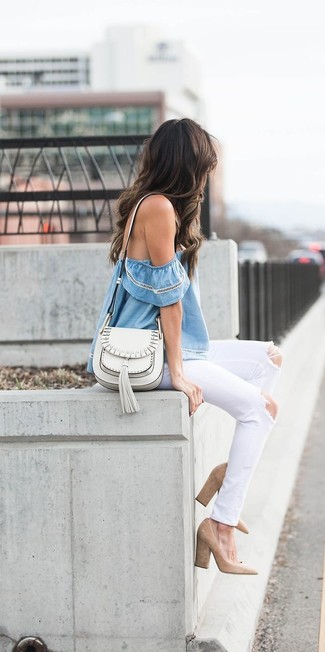 How to wear: white leather crossbody bag, tan suede pumps, white ripped jeans, light blue off shoulder top