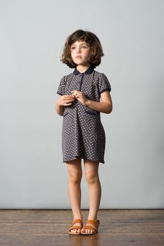 Girls' Looks & Outfits: What To Wear In 2020: Suggest that your little angel go for navy print dress to create a smart casual look. Tan sandals are a great choice to finish off this look.