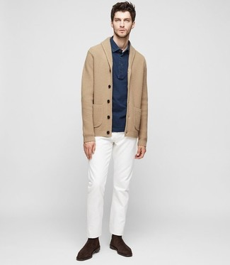 How to wear: tan shawl cardigan, navy polo, white chinos, dark brown suede chelsea boots