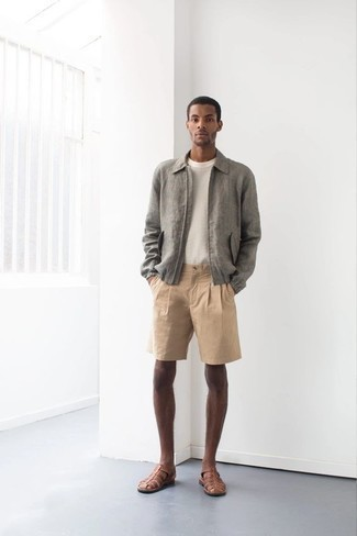 How to Wear Tan Shorts For Men: Choose a grey harrington jacket and tan shorts to put together an interesting and modern-looking casual outfit. If you want to easily dress down your outfit with one item, grab a pair of brown leather sandals.