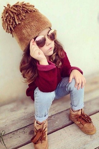 How to Wear Beige Sneakers For Girls: Consider dressing your child in a red sweater with light blue jeans for an easy to wear, everyday look. As far as footwear is concerned, let your little girl grab a pair of beige sneakers.