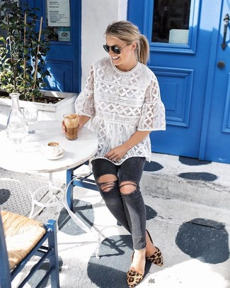 How to wear: tan leopard suede ballerina shoes, charcoal ripped skinny jeans, white lace short sleeve blouse