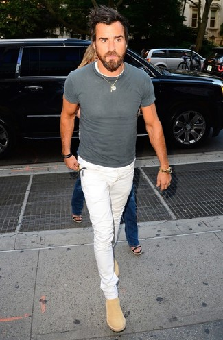 How to wear: tan suede chelsea boots, white jeans, grey crew-neck t-shirt