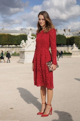 How to wear: tan leopard suede clutch, red leather pumps, red lace skater dress