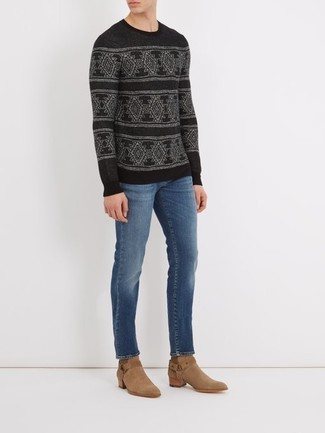 How to wear: tan suede cowboy boots, blue jeans, black fair isle crew-neck sweater