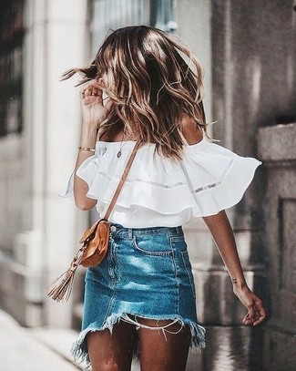 How to Wear a Navy Denim Mini Skirt In a Relaxed Way: Display your expert styling by wearing this relaxed casual pairing of a white off shoulder top and a navy denim mini skirt.
