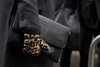 How to wear: tan leopard suede gloves, black leather zip pouch, charcoal overcoat