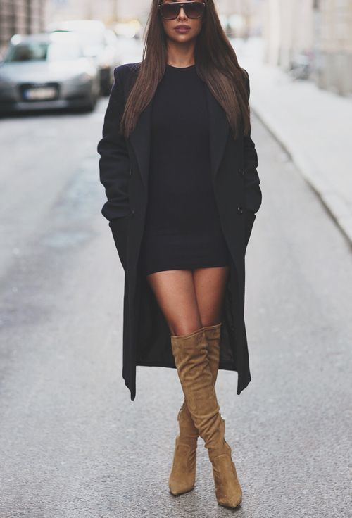 ea961f3e6c20 Women's Tan Suede Over The Knee Boots, Black Bodycon Dress, Black Coat |  Women's Fashion | Lookastic UK