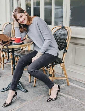 How to wear: tan leopard suede pumps, charcoal skinny jeans, grey crew-neck sweater