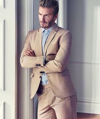 David Beckham wearing Tan Suit, Light Blue Dress Shirt