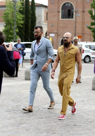 How to wear: gold watch, tan leather tassel loafers, light violet dress shirt, light blue suit