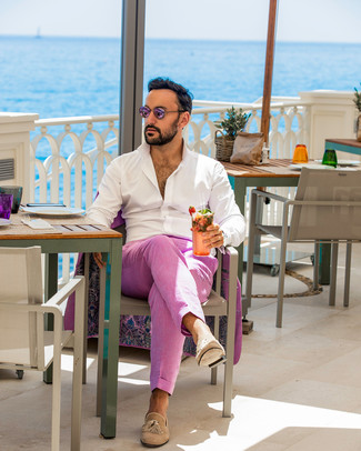 How to wear: pink sunglasses, tan suede tassel loafers, white long sleeve shirt, hot pink suit